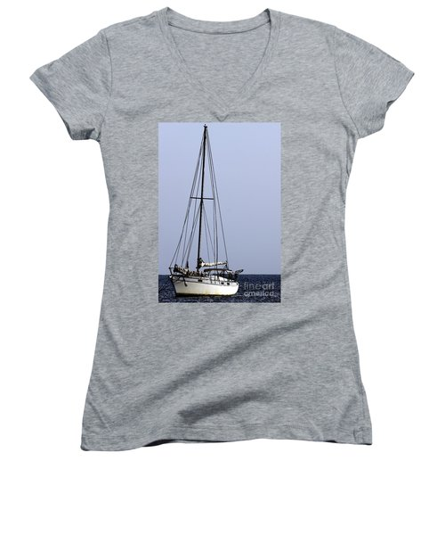 Women's V-Neck T-Shirt (Junior Cut) featuring the photograph Docked At Bay by Lilliana Mendez
