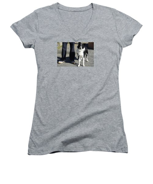 Women's V-Neck T-Shirt (Junior Cut) featuring the photograph Dog And True Friendship 9 by Teo SITCHET-KANDA