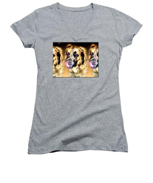 Women's V-Neck T-Shirt (Junior Cut) featuring the digital art Dog by Daniel Janda