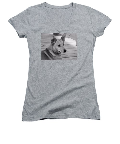 Dog In Black And White One Women's V-Neck