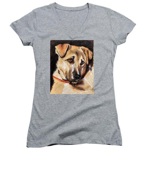 Dog Portrait Drawing Women's V-Neck (Athletic Fit)