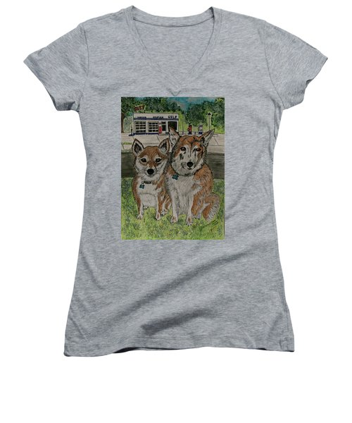 Women's V-Neck T-Shirt (Junior Cut) featuring the painting Dogs In Front Of The Gulf Station by Kathy Marrs Chandler