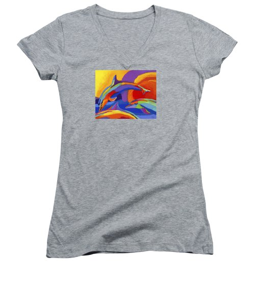 Dolphin Dance Women's V-Neck T-Shirt (Junior Cut) by Stephen Anderson