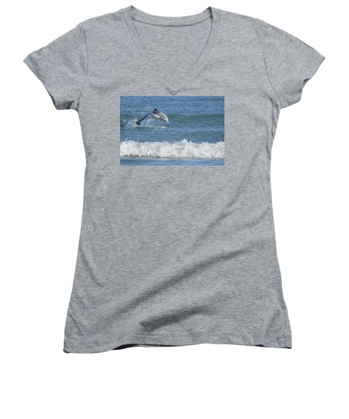 Dolphin In Surf Women's V-Neck (Athletic Fit)