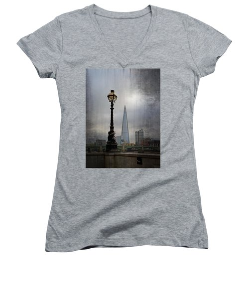 Dolphin Lamp Posts London Women's V-Neck T-Shirt (Junior Cut) by Lynn Bolt