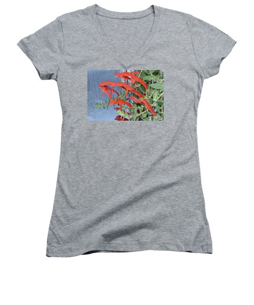 Women's V-Neck T-Shirt (Junior Cut) featuring the photograph Dolphin Plant by Brenda Brown