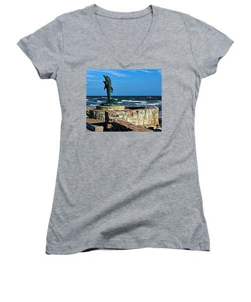 Dolphin Statue Women's V-Neck T-Shirt (Junior Cut) by Judy Vincent
