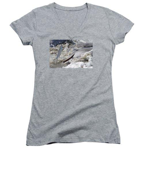 Dolphin Strand Feeding 2 Women's V-Neck T-Shirt (Junior Cut) by Kevin McCarthy