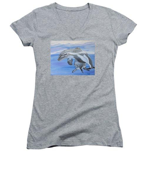 Sublime Dolphins Women's V-Neck T-Shirt (Junior Cut) by Meryl Goudey