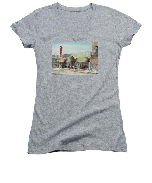 Domenicos In Long Beach Women's V-Neck T-Shirt (Junior Cut) by Debbie Lewis