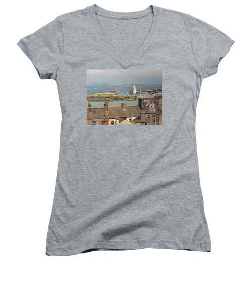 Women's V-Neck T-Shirt (Junior Cut) featuring the painting Donaghadee Ireland Irish Sea by Brenda Brown