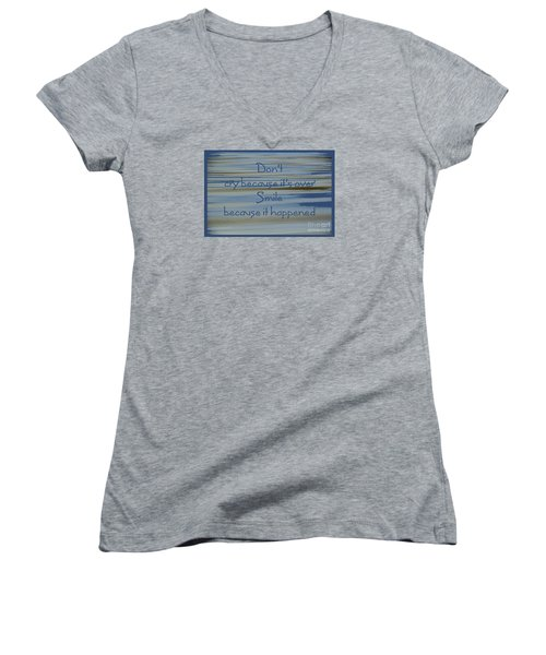 Don't Cry.....1 Women's V-Neck T-Shirt (Junior Cut) by Wendy Wilton