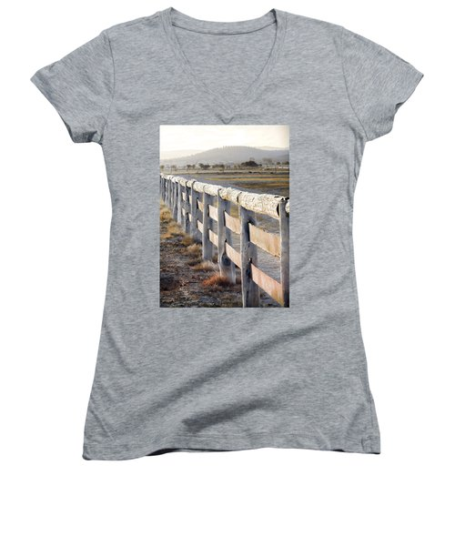 Women's V-Neck T-Shirt (Junior Cut) featuring the photograph Don't Fence Me In by Holly Kempe