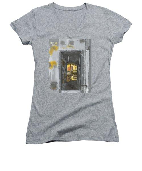 Doorway In Cinque Terra Women's V-Neck T-Shirt