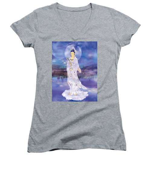 Doro Guanyin Women's V-Neck T-Shirt (Junior Cut) by Lanjee Chee