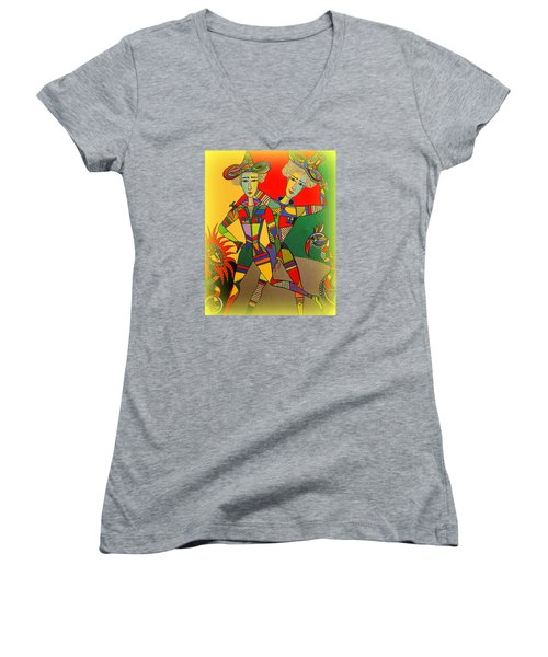 Let's Go Brother Women's V-Neck T-Shirt (Junior Cut) by Marie Schwarzer