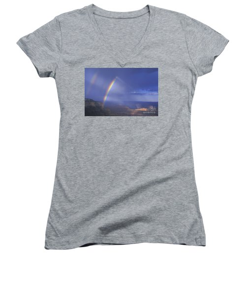Women's V-Neck featuring the photograph Double Rainbow At Cape Royal Grand Canyon National Park by Dave Welling