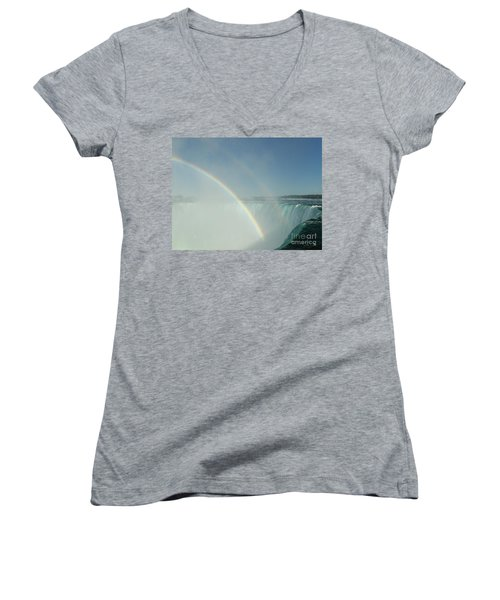 Women's V-Neck T-Shirt (Junior Cut) featuring the photograph Double Rainbow by Brenda Brown