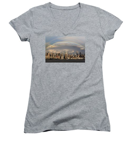 Double Rainbow Over Nyc Women's V-Neck