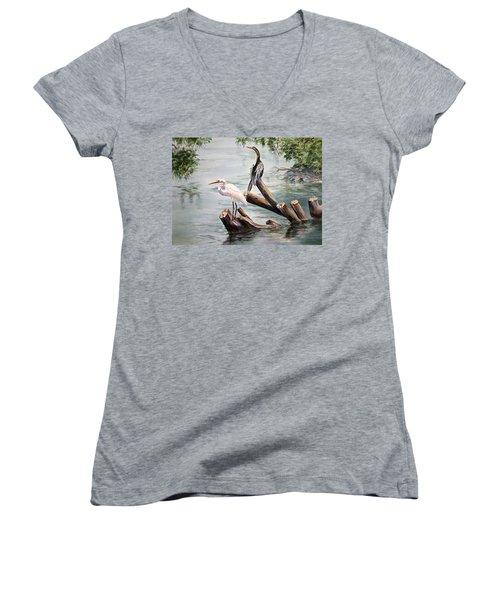 Double Trouble Women's V-Neck T-Shirt (Junior Cut) by Roxanne Tobaison