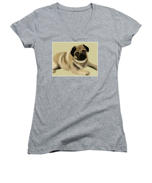 Doug The Pug Women's V-Neck (Athletic Fit)