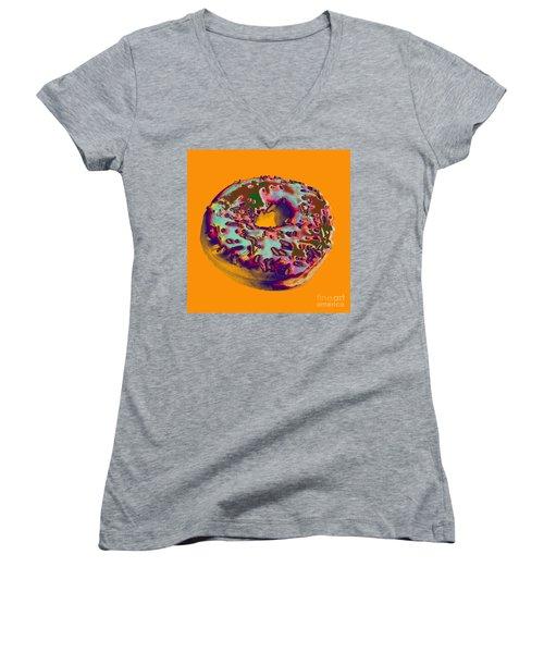 Doughnut Women's V-Neck T-Shirt (Junior Cut) by Jean luc Comperat