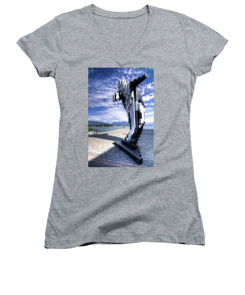 Douglas Coupland's Digital Orca Women's V-Neck (Athletic Fit)
