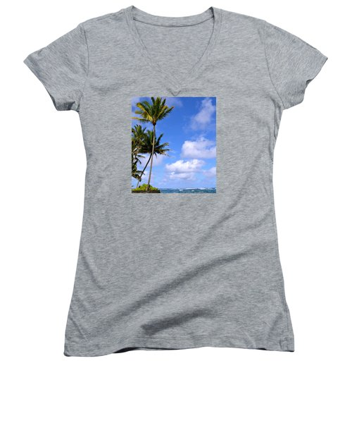 Women's V-Neck T-Shirt (Junior Cut) featuring the photograph Down By The Ocean In Hawaii by Lehua Pekelo-Stearns