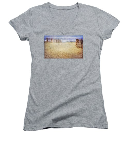 Women's V-Neck T-Shirt (Junior Cut) featuring the photograph Down The Shore by Debra Fedchin