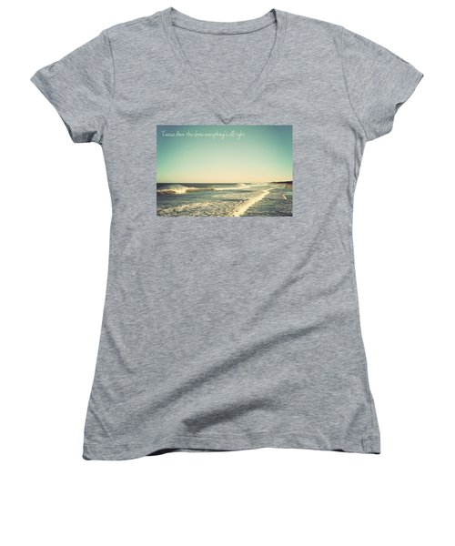 Down The Shore Seaside Heights Vintage Quote Women's V-Neck