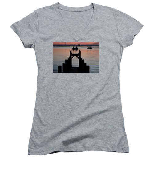 Down To The Sunset Sea Women's V-Neck (Athletic Fit)
