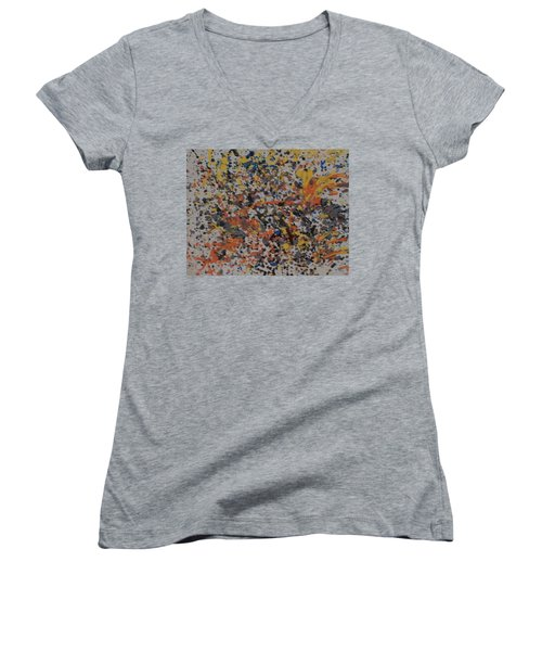 Women's V-Neck T-Shirt featuring the painting Down With Disease by Thomasina Durkay