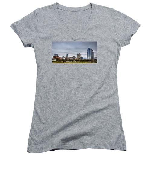 Downtown Fort Worth Trinity Trail Women's V-Neck T-Shirt (Junior Cut) by Jonathan Davison