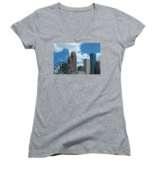 Downtown Houston With Ferris Wheel Women's V-Neck T-Shirt (Junior Cut) by Connie Fox