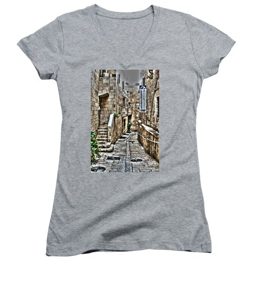 Women's V-Neck T-Shirt (Junior Cut) featuring the photograph Downtown In Jerusalems Old City by Doc Braham