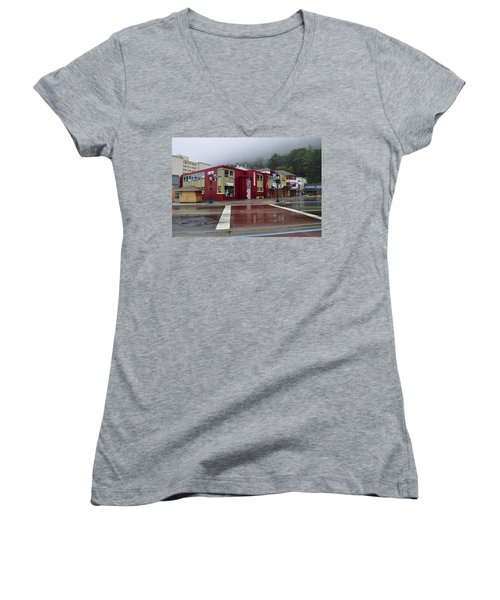 Women's V-Neck T-Shirt (Junior Cut) featuring the photograph Downtown Juneau On A Rainy Day by Cathy Mahnke
