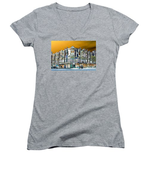 Downtown Los Angeles Corner Facade Women's V-Neck