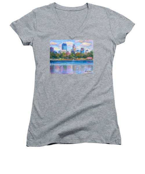 Downtown Minneapolis Skyline From Lake Calhoun Women's V-Neck T-Shirt