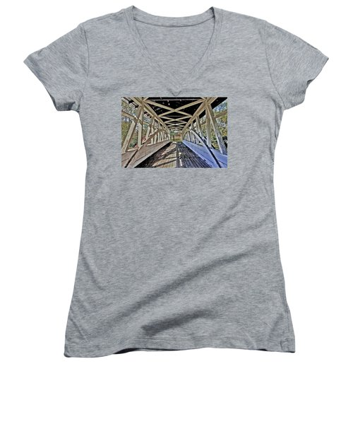 Women's V-Neck T-Shirt (Junior Cut) featuring the photograph Dr. Knisely Covered Bridge by Suzanne Stout