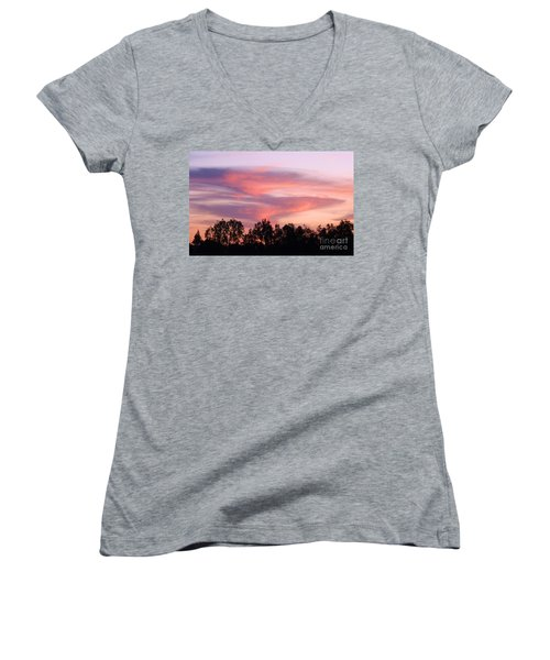 Women's V-Neck T-Shirt (Junior Cut) featuring the photograph Dragon Clouds by Meghan at FireBonnet Art