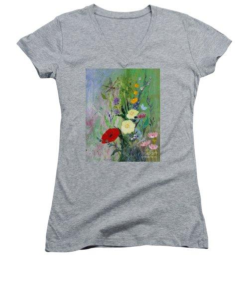 Dragonflies Dancing Women's V-Neck T-Shirt (Junior Cut) by Robin Maria Pedrero