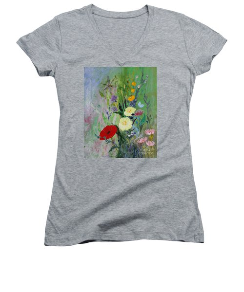 Dragonflies Dancing Women's V-Neck T-Shirt