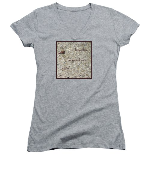 Women's V-Neck T-Shirt (Junior Cut) featuring the photograph Dragonflies Haiga by Judi and Don Hall