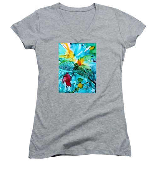 Dragonfly Blues Women's V-Neck T-Shirt