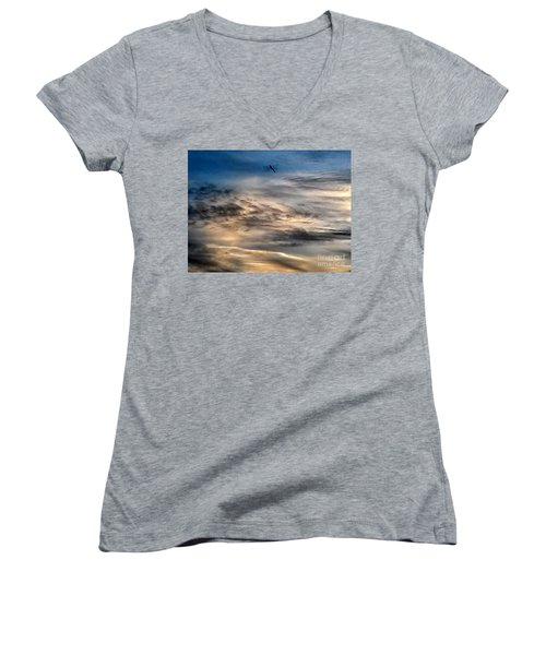 Dragonfly In The Sky Women's V-Neck T-Shirt