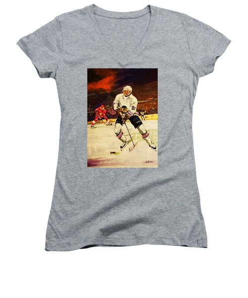 Women's V-Neck T-Shirt (Junior Cut) featuring the painting Drama On Ice by Al Brown