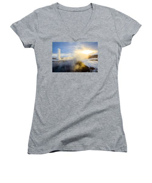 Women's V-Neck T-Shirt (Junior Cut) featuring the photograph Drawn To The Sun by Peta Thames