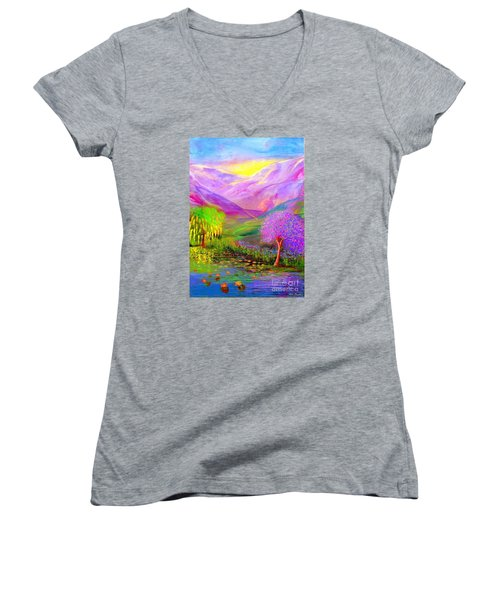 Women's V-Neck T-Shirt (Junior Cut) featuring the painting Dream Lake by Jane Small
