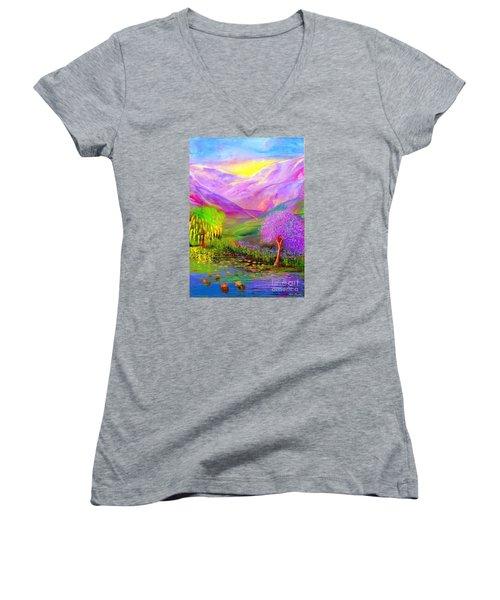 Dream Lake Women's V-Neck T-Shirt (Junior Cut) by Jane Small