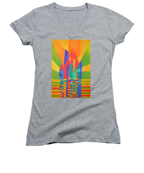Women's V-Neck T-Shirt (Junior Cut) featuring the painting Dreamboat by Tracey Harrington-Simpson